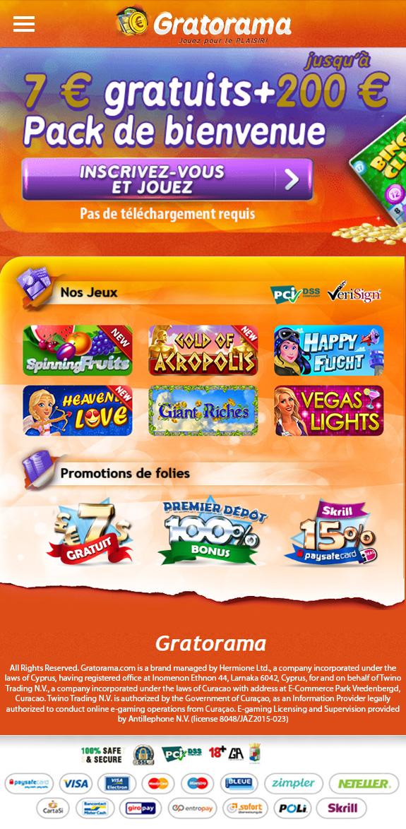 Gratorama Mobile Casino